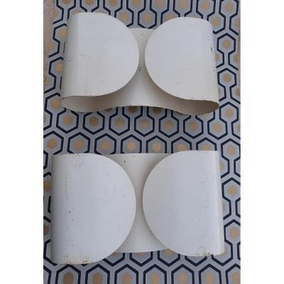 Paire d'Appliques Foglio Edition Flos Métal Cintré Laqué Blanc