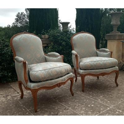Pair Of Louis XV Bergères Stamped From A Bonnemain