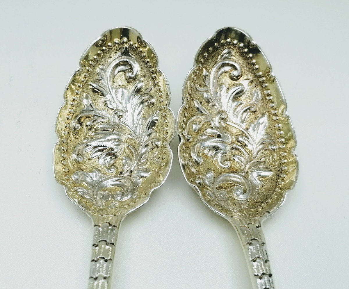 A Pair Of Solid Silver Berry Serving Spoons 1760,1766.-photo-3