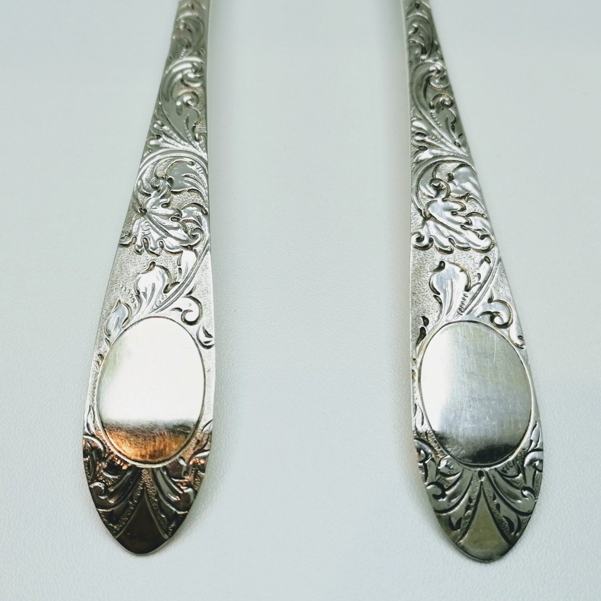 A Pair Of Solid Silver Berry Serving Spoons 1760,1766.-photo-1