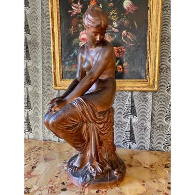 Terracotta Sculpture By Auguste Joseph Peiffer (1832-1886)