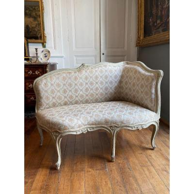 Petit Canapé d'époque Louis XV dit Veilleuse ou Ottomane