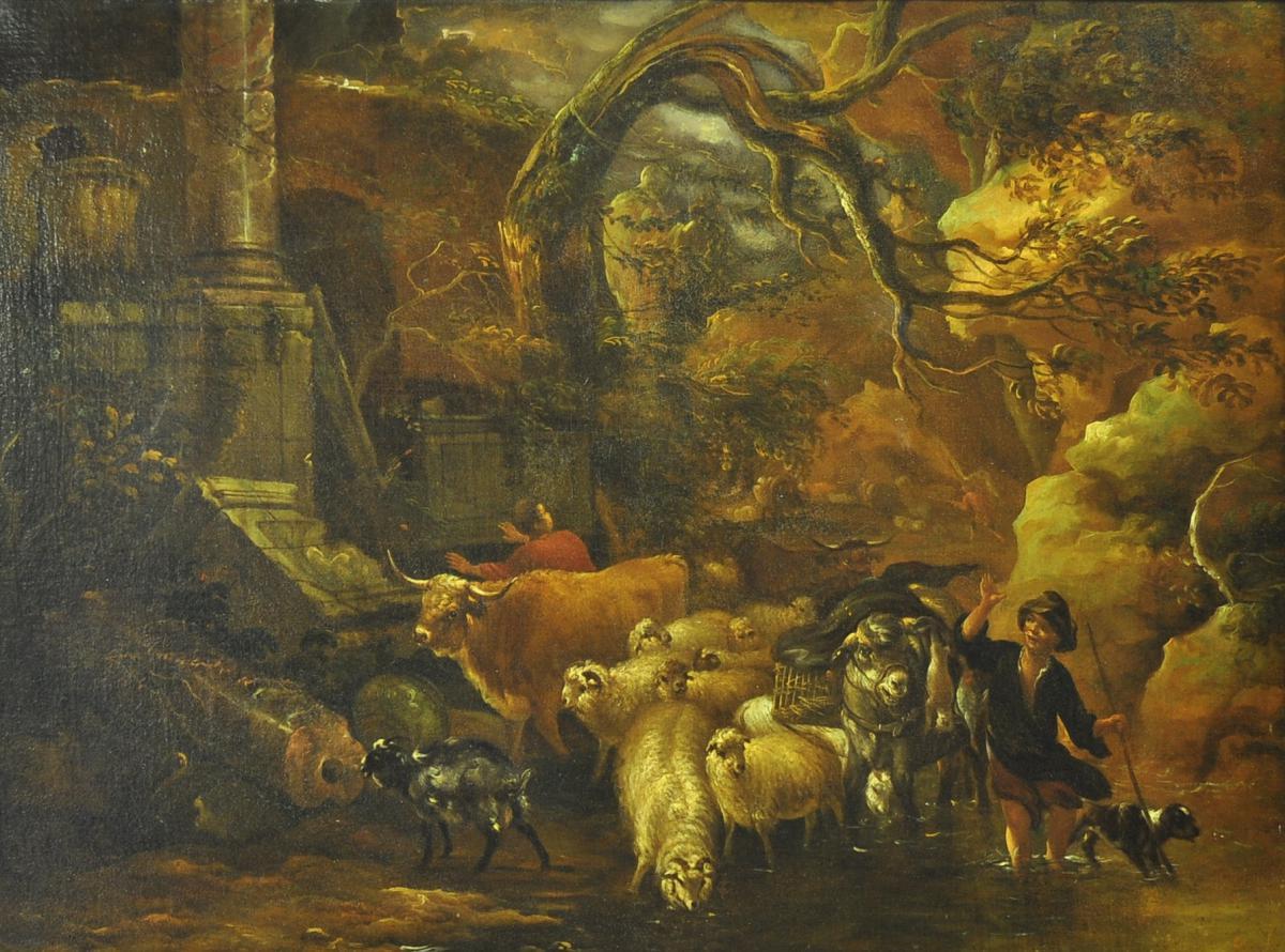 Michiel Carré, 1657-1727, Jeune berger et troupeau-photo-4