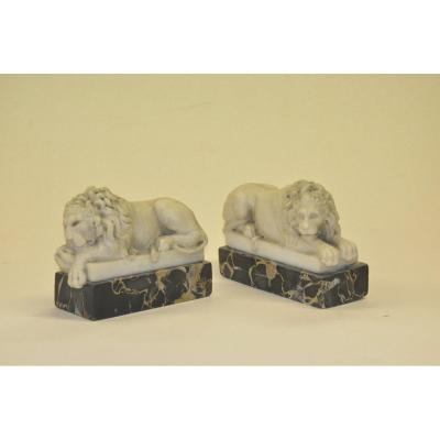 Pair Of Lions In Carrara Marble