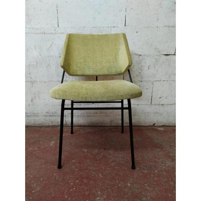 Armchair In Metal And Fabric Green
