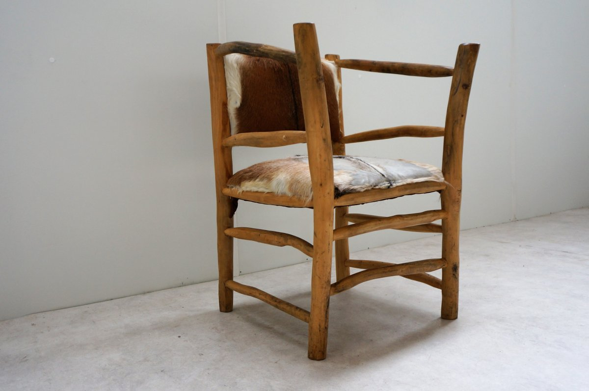 Natural Wood Brutalist Armchair