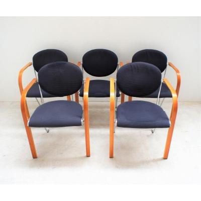 suite de 5 fauteuils de Salon Design