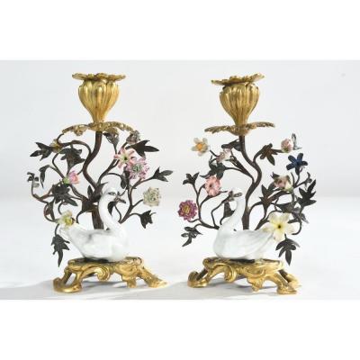 Paire De Bougeoirs Louis XV