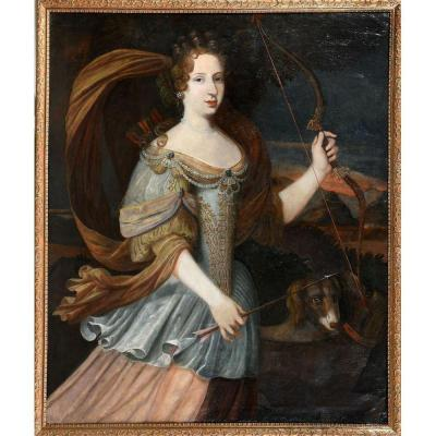 French School End Of XVIIth. Presumed Portrait Of The Grande Mademoiselle, Cousin Of Louis XIV