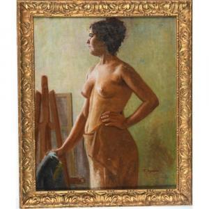 Synave Tancrede. (1860-1936). « Modèle Posant ». Toile Signée. H.65 L.54.