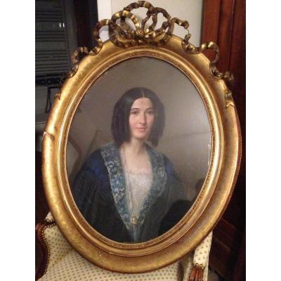 Pastel Portrait d'Une Jeune Femme De Qualité