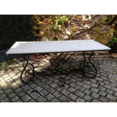 Table Marbre Et Fer Forge De Jardin Ou De Terrasse