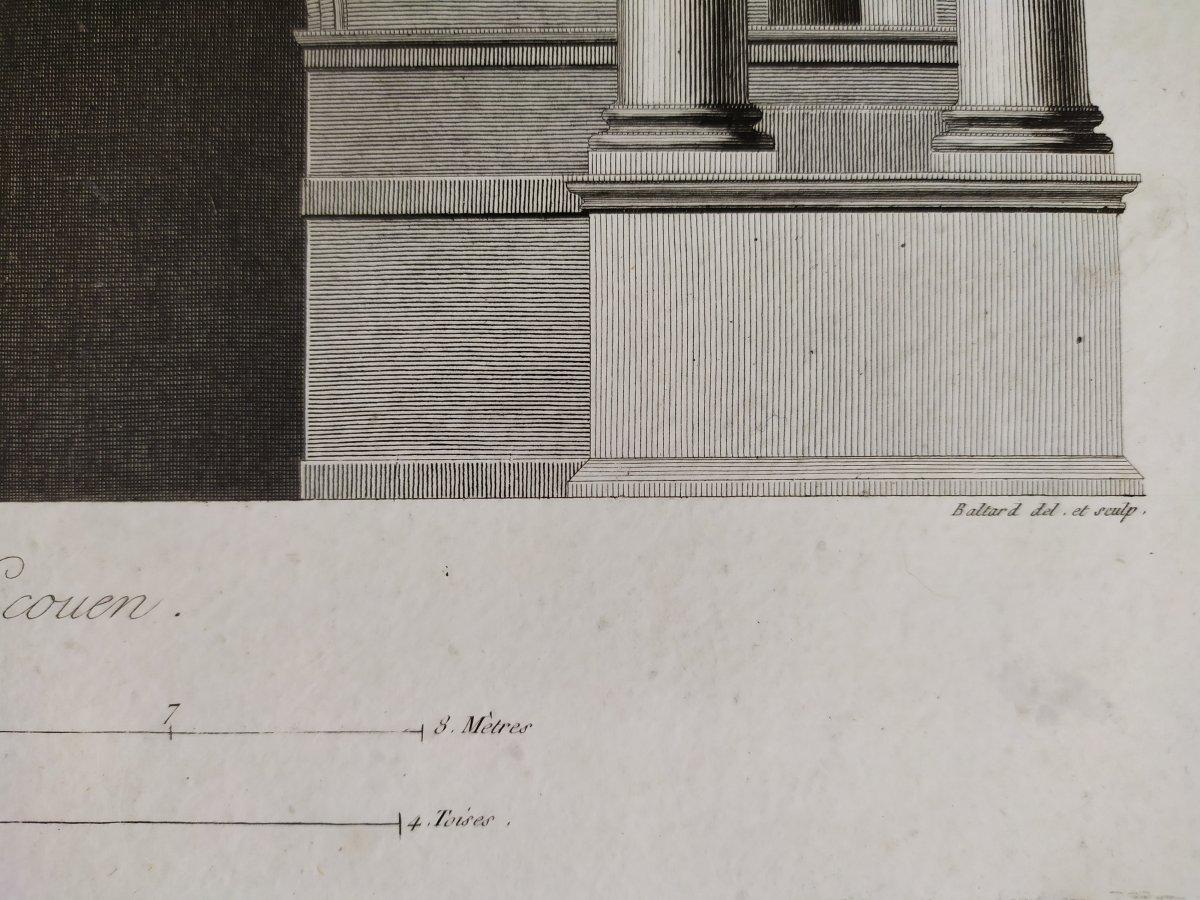 Gravure architecture  d'époque Empire  XIXème  Avant-corps de la Cour du Château d'Ecouen  -photo-4