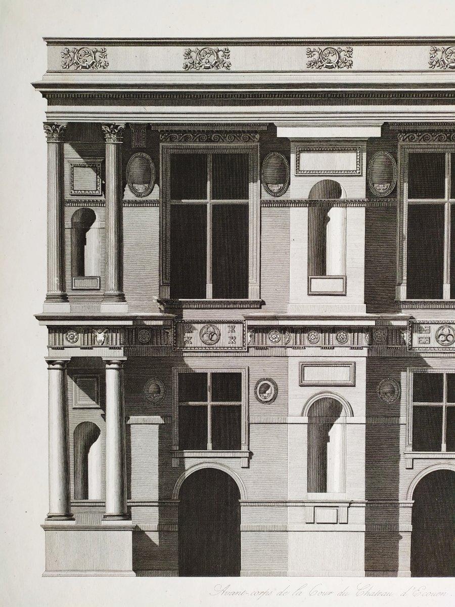 Gravure architecture  d'époque Empire  XIXème  Avant-corps de la Cour du Château d'Ecouen  -photo-1