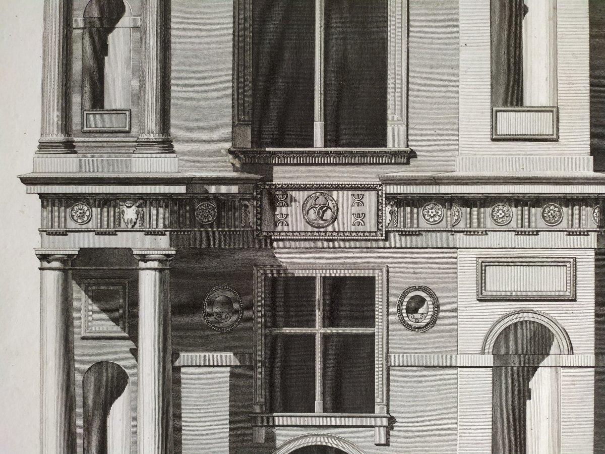 Gravure architecture  d'époque Empire  XIXème  Avant-corps de la Cour du Château d'Ecouen  -photo-2