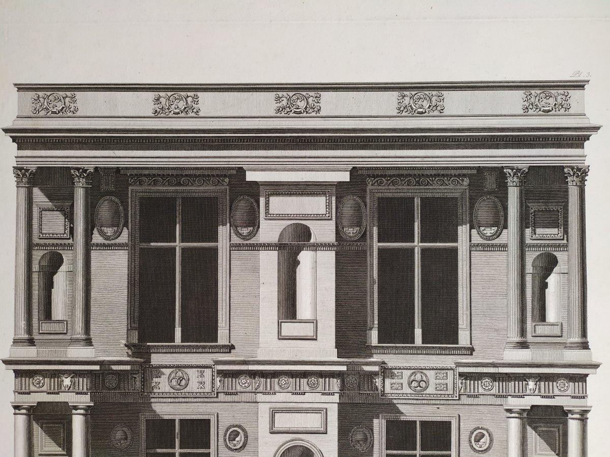 Gravure architecture  d'époque Empire  XIXème  Avant-corps de la Cour du Château d'Ecouen  -photo-3
