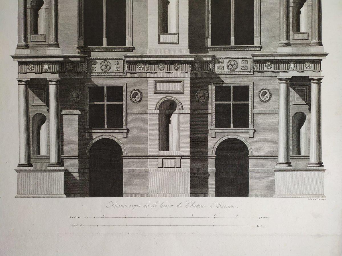 Gravure architecture  d'époque Empire  XIXème  Avant-corps de la Cour du Château d'Ecouen  -photo-5