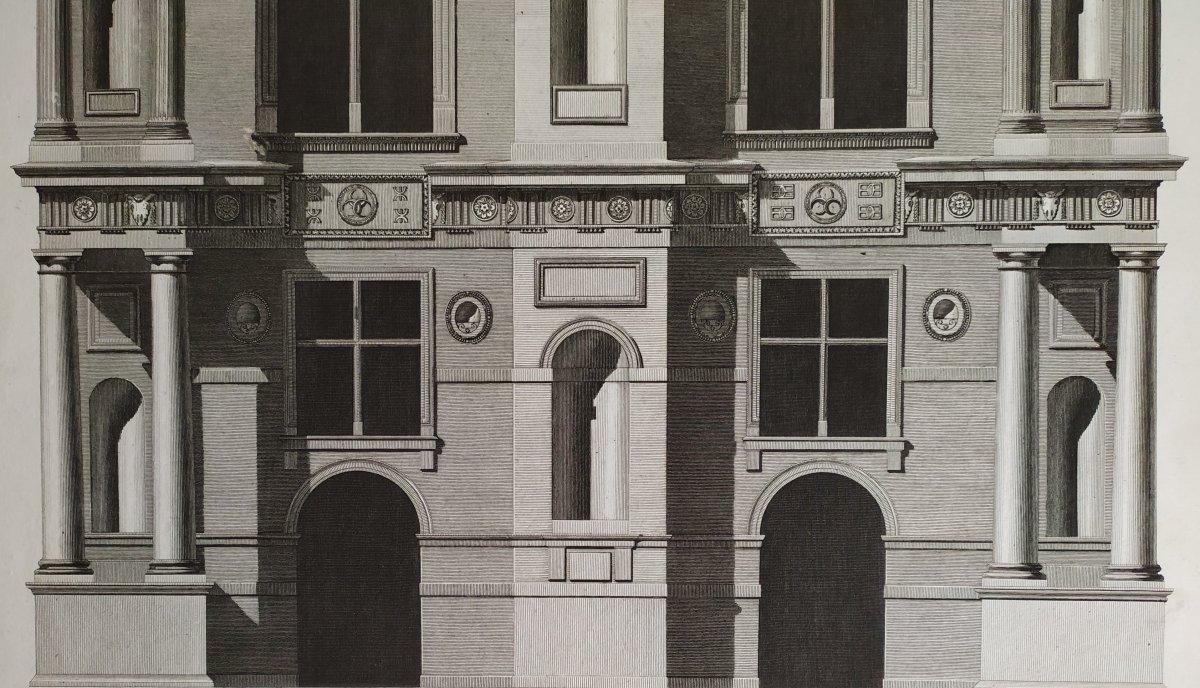 Gravure architecture  d'époque Empire  XIXème  Avant-corps de la Cour du Château d'Ecouen  -photo-6