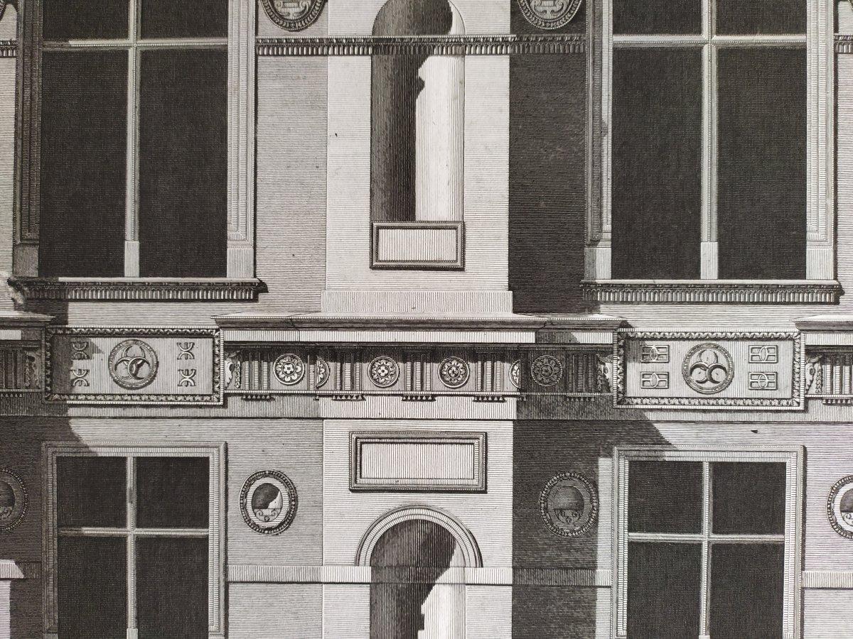 Gravure architecture  d'époque Empire  XIXème  Avant-corps de la Cour du Château d'Ecouen  -photo-7