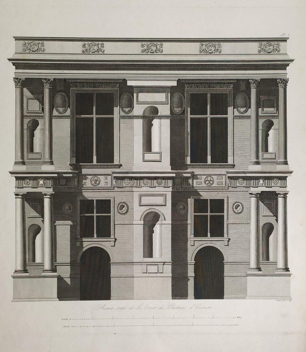 Gravure architecture  d'époque Empire  XIXème  Avant-corps de la Cour du Château d'Ecouen