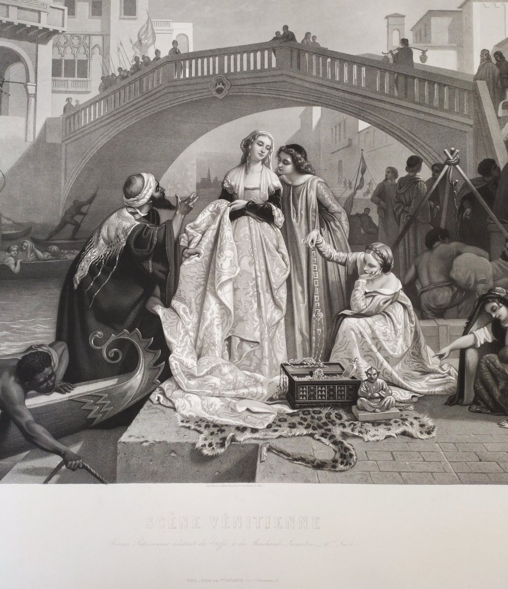 19th Century Etching Romantic Scene In Venice Italy, After Italian Painting By Auguste Gendron-photo-2