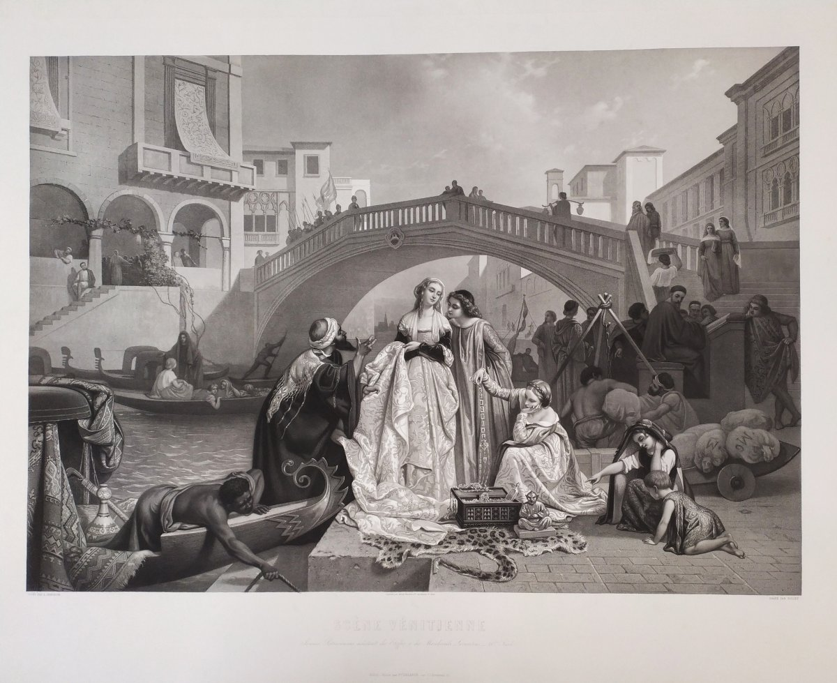 19th Century Etching Romantic Scene In Venice Italy, After Italian Painting By Auguste Gendron-photo-3
