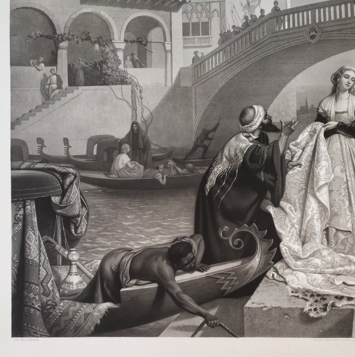 19th Century Etching Romantic Scene In Venice Italy, After Italian Painting By Auguste Gendron-photo-4