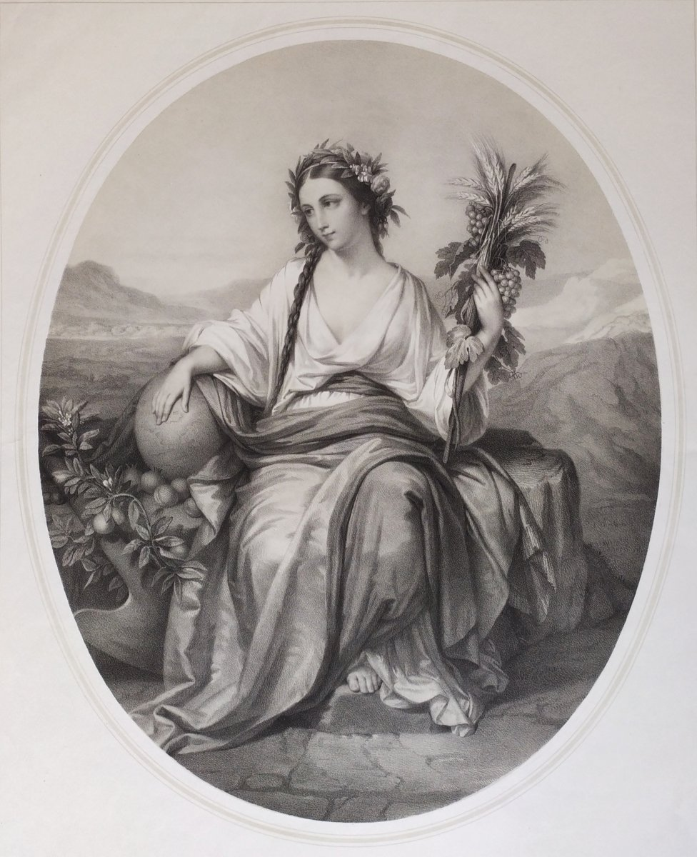 19th Allegorical Print Female Portrait With  Engraving, After French Painting By Brochart, 19th