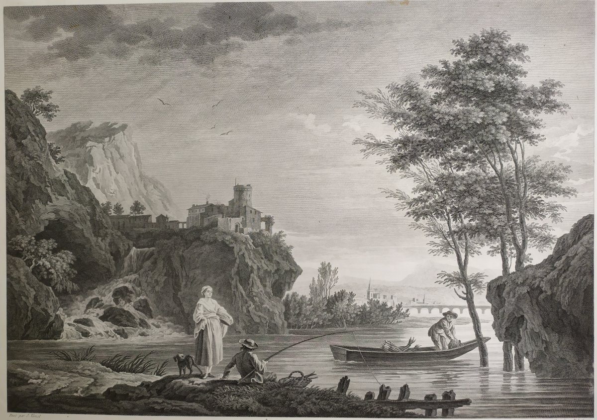Seascape Engraving After Vernet Day Fishing 19th C-photo-1