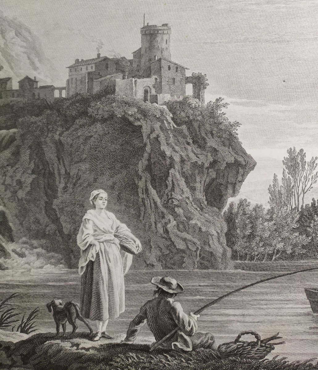 Seascape Engraving After Vernet Day Fishing 19th C-photo-3