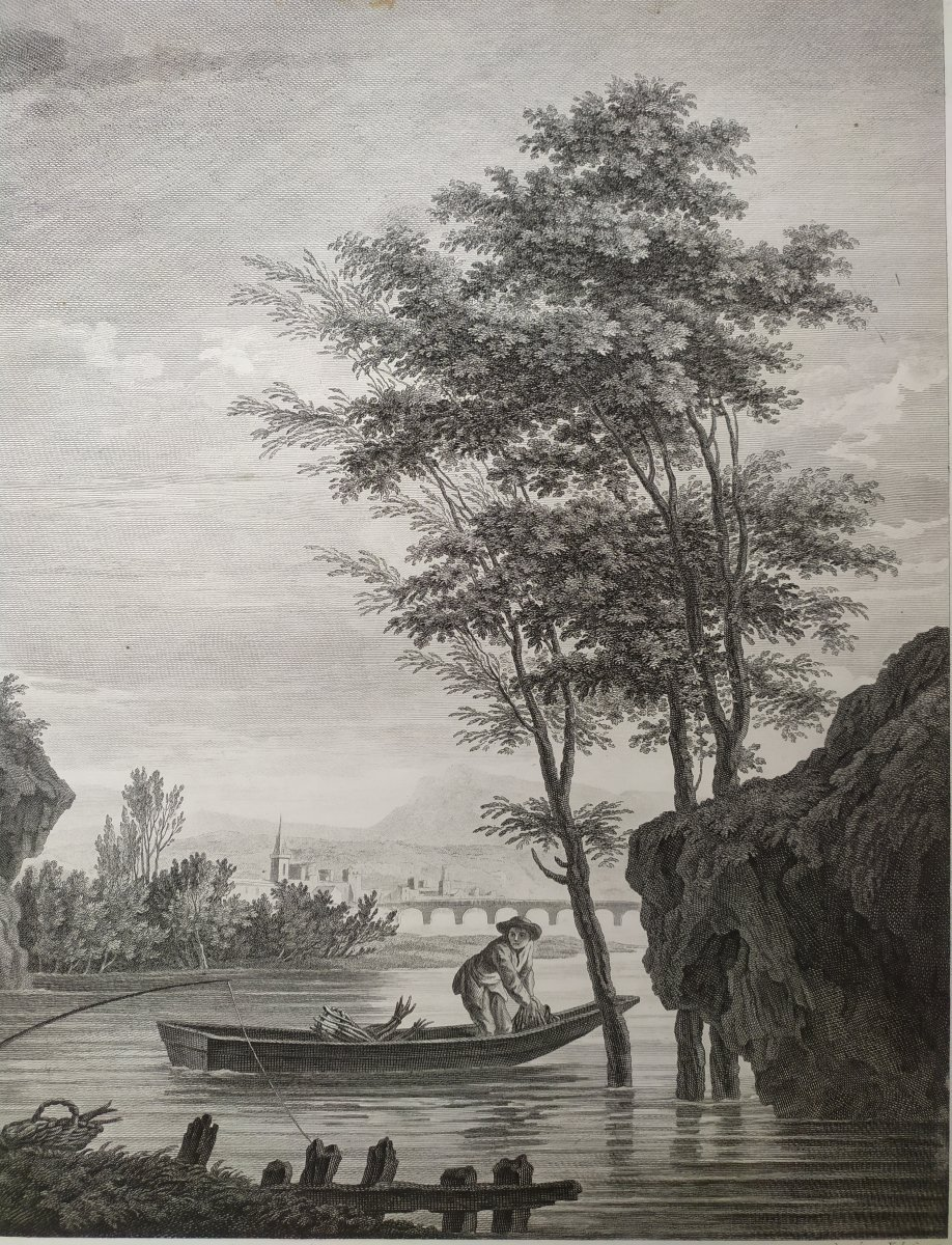 Seascape Engraving After Vernet Day Fishing 19th C-photo-4