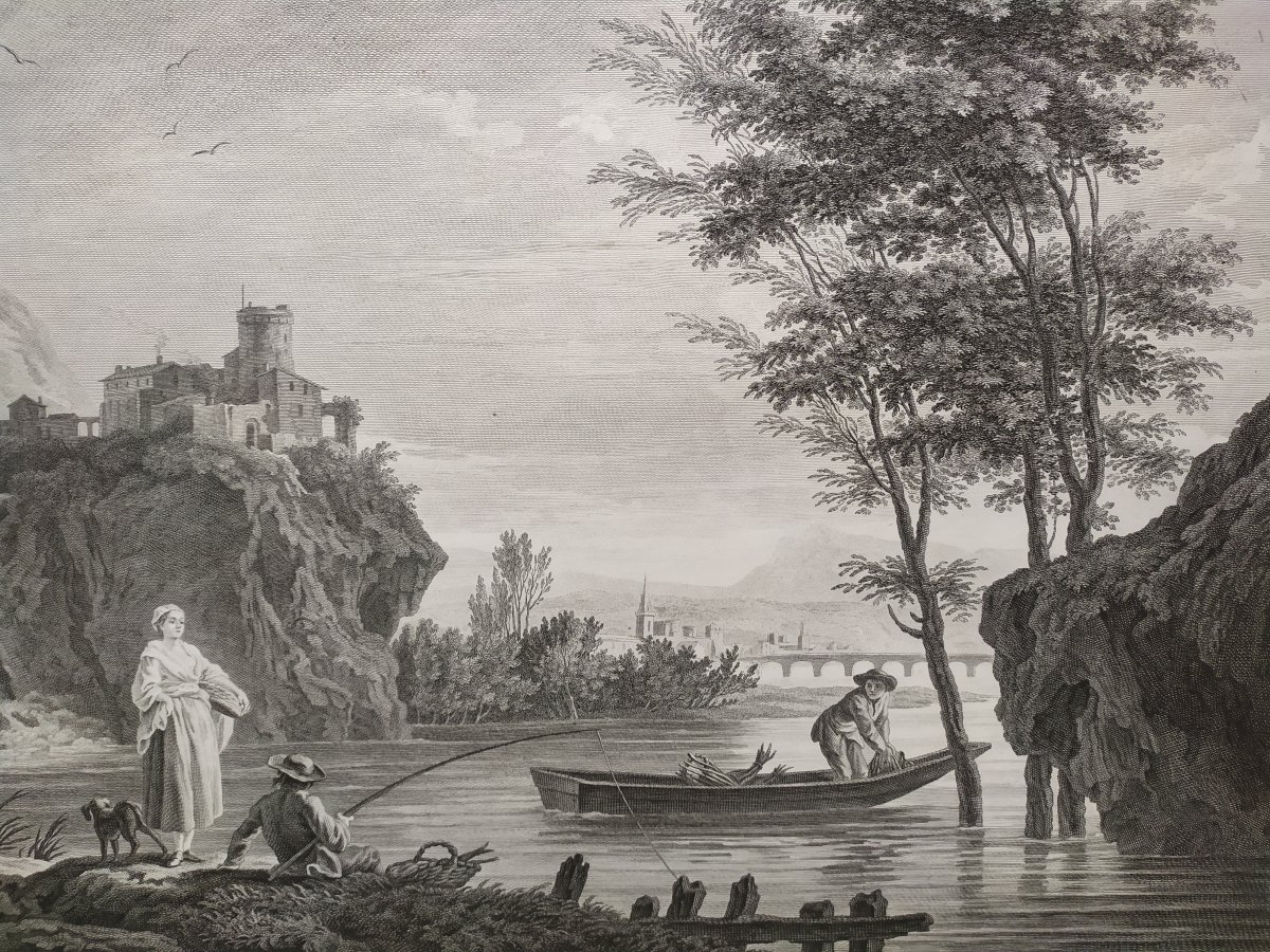 Seascape Engraving After Vernet Day Fishing 19th C-photo-5