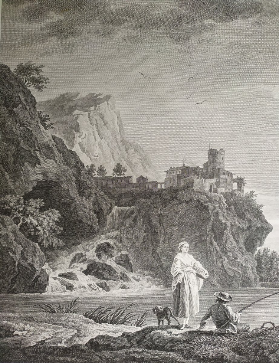 Seascape Engraving After Vernet Day Fishing 19th C-photo-7