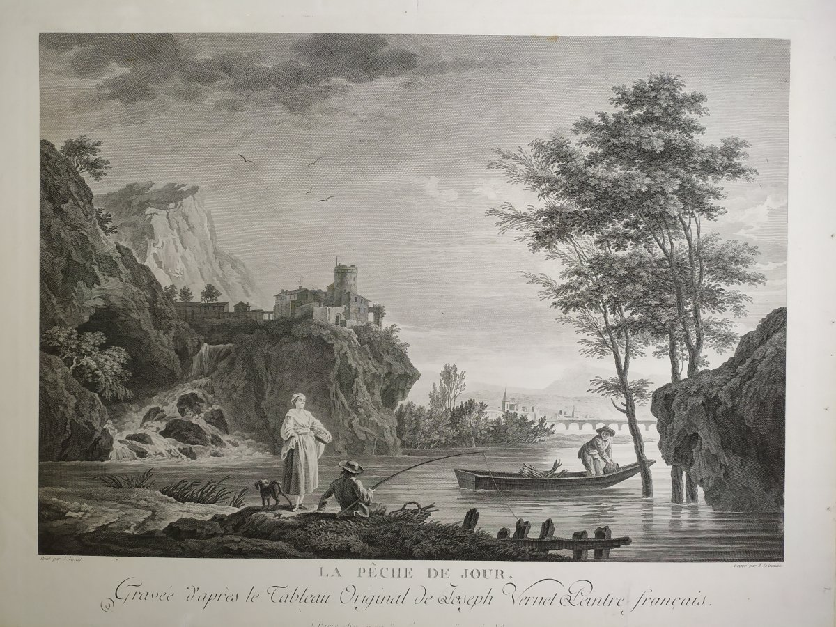 Seascape Engraving After Vernet Day Fishing 19th C-photo-8