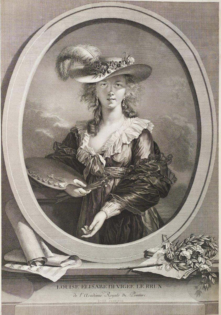 Gravure  19ème  Autoportrait de Elisabeth Vigée Le Brun gravé par Müller