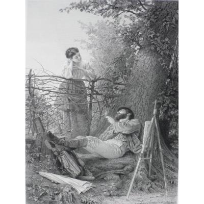 Paire de gravures Le Chasseur et Le Peintre d'après Edmond Adolphe Rudaux