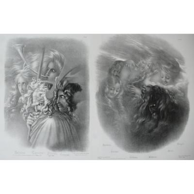 Two Mythological Lithographs After Girodet-trioson Dated 1827
