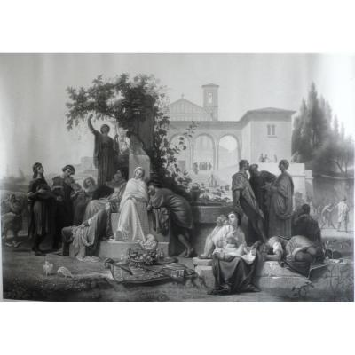 People In The Garden In Ancient Florence, 19th Engraving After Oil Painting By Gendron