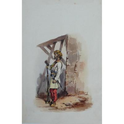 Portrait Of An Indian Soldier, 19th Watercolor Painting By French Artist O. Norie