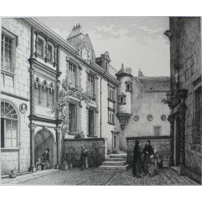 Yard In Hotel Lallemant In Bourges  Engraved By Armand Queyroy