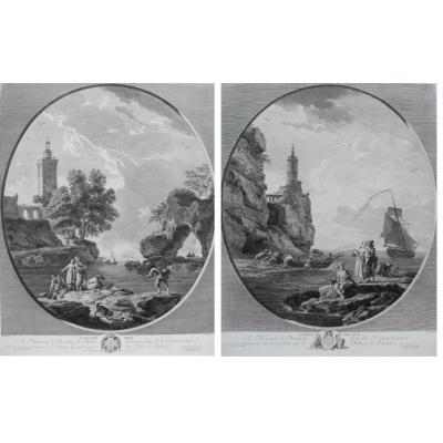 18ème Paire de Gravures , Paysage Marin de Navire, d'après peinture de Joseph Vernet