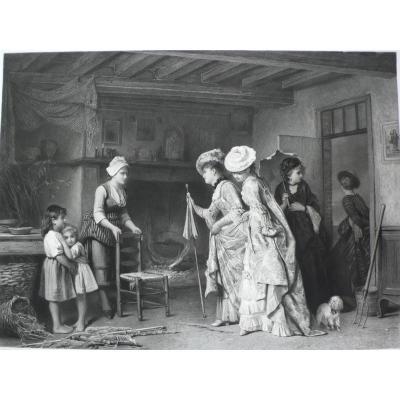 Grande Gravure Style Victorien de Trois Belles Femmes en Robe, d'après peinture de Charles Baugniet