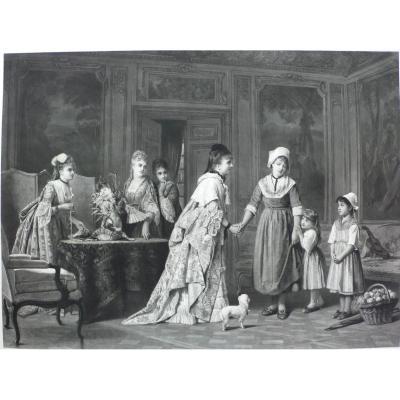 Grande Gravure XIXème Victorien, d'après peinture Charles Baugniet La Visite Au Château