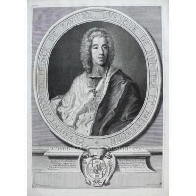 Gravure XVIIIème, Portrait d'Homme représentant Clément Auguste Prince de Bavière, d'après peinture de Vivien