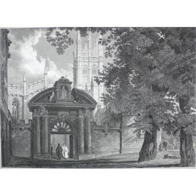 Architecture Landscape View Of Magdalen College In Oxford, 19th Engraving Print After English Oil Painting By Mackenzie