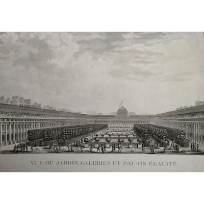 View Of The Garden And Palais-royal  Eighteenth Century Engraving