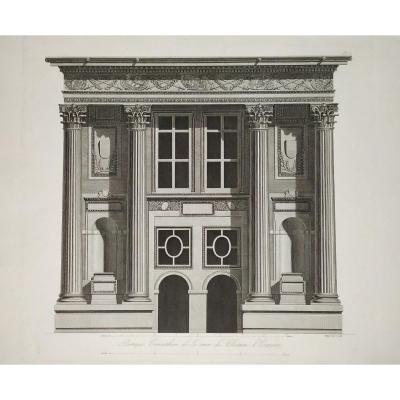 Portico Of Ecouen Castle Engraving 19th.c Empire