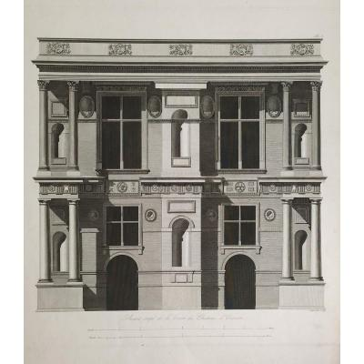 Engraving 19th Century Empire Architecture Courtyard Of The Castle Of Ecouen