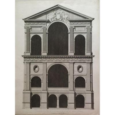 Architecture Elevation Lodge Ecouen Castle Engraving By Baltard