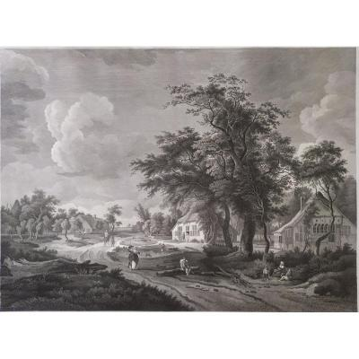18th Century, Rural Landscape Of An Old Village, Etching Print After Oil Painting By Hobbima